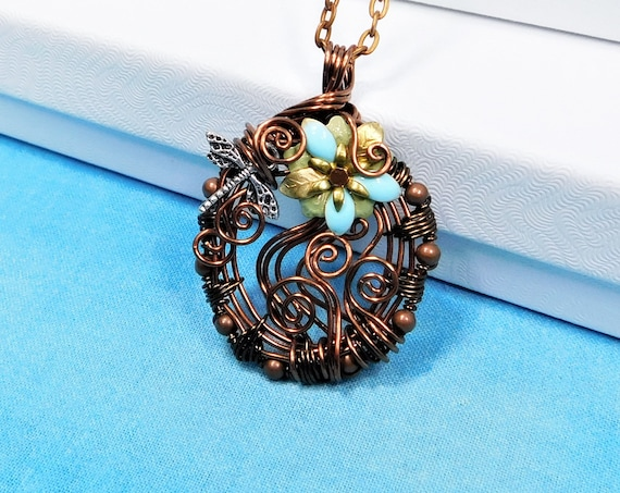 Artistic Dragonfly Necklace, Woven Wire Memorial Pendant, Copper Wrapped Remembrance Jewelry Sympathy Gift for Bereavement Present