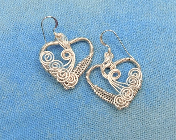 Artisan Crafted  Silver Woven Wire Heart Dangle Earrings, Artistic Handmade Wearable Art Jewelry Mother's Day Present Ideas for Wife or Mom