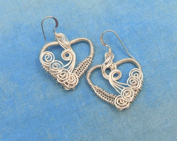 Artisan Crafted  Silver Woven Wire Heart Dangle Earrings, Artistic Handmade Wearable Art Jewelry Birthday Present Ideas for Wife or Mom