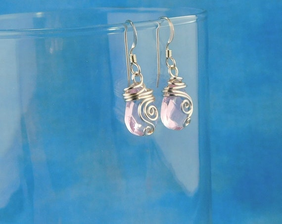 Pink Crystal Dangle Earrings, Romantic Gifts for Her, Unique Wire Wrapped Artistic Jewelry, Artisan Crafted Wearable Art Christmas Present