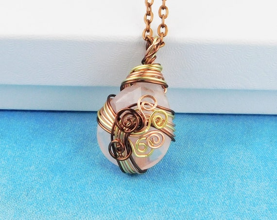 Rose Quartz Necklace, Unique Sculpted Wire Wrapped Gemstone Pendant, Artistic Handmade Wearable Art Jewelry Birthday Present Ideas for Women