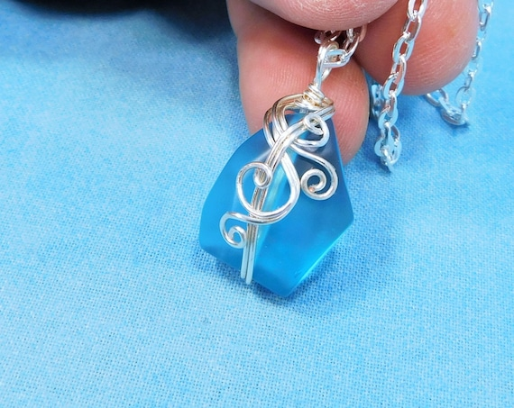 Blue Sea Glass Necklace, Unique Wire Wrapped Artisan Crafted Pendant, Artistic Jewelry Present for Beach or Ocean Lover Best Friend Gift