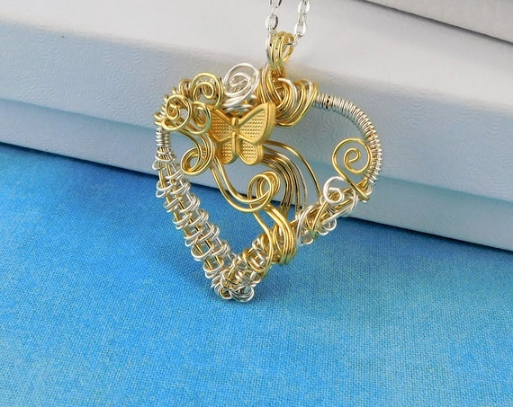 Artisan Crafted Gold Butterfly Necklace, Unique Woven Wire Wrapped Heart Pendant, Artistic Handmade Romantic Valentine's Day Present Ideas