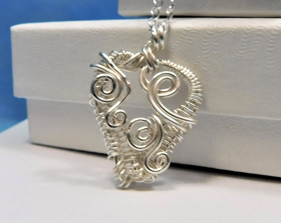 Woven Wire Wrapped Sterling Silver Heart Pendant, Unique Artisan Crafted Handmade Necklace, Romantic Gifts for Wife, Girlfriend, Sweetheart
