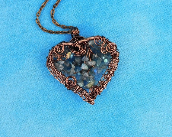 Unique Woven Wire Wrapped Labradorite Necklace, Artisan Crafted Beaded Copper Heart Pendant, Artistic Handmade Wearable Art Jewelry Present