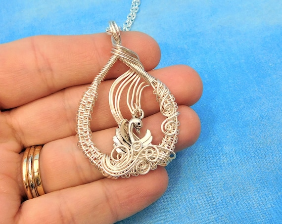 Artisan Crafted Swan Necklace, Unique Wire Wrapped Pendant, Handmade Jewelry, Romantic Anniversary Present for Wife or Girlfriend Gift