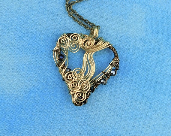 Unique Rustic Copper Heart Necklace Woven Wire Pendant, Artisan Crafted Handmade Jewelry, Wearable Art Anniversary Present for Wife
