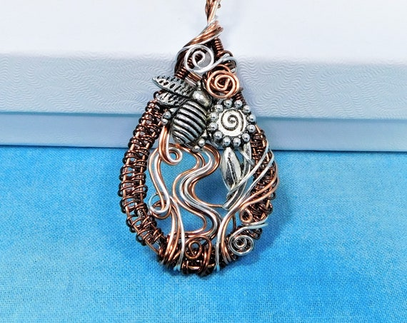 Artisan Crafted Bee Necklace, Unique Copper Wire Wrapped Honeybee Pendant, One of a Kind Artistic Bumblebee Jewelry, Beekeeper Wearable Art