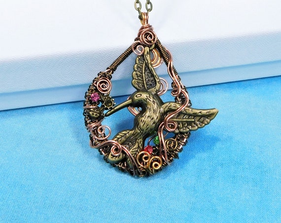 Large Artistic Hummingbird Necklace, Copper Wire Wrapped Hummingbird Pendant, Wearable Art Jewelry Bereavement Present or Sympathy Gift