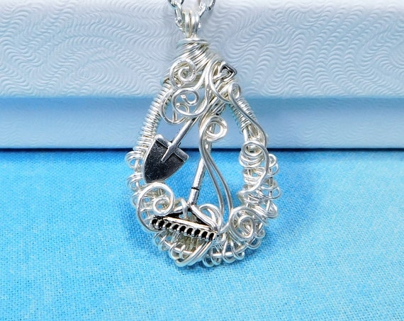 Artisan Crafted Garden Necklace, Wire Wrapped Wearable Art Jewelry, Shovel and Rake Garden Tools Theme Gardening Pendant Gift for Gardener