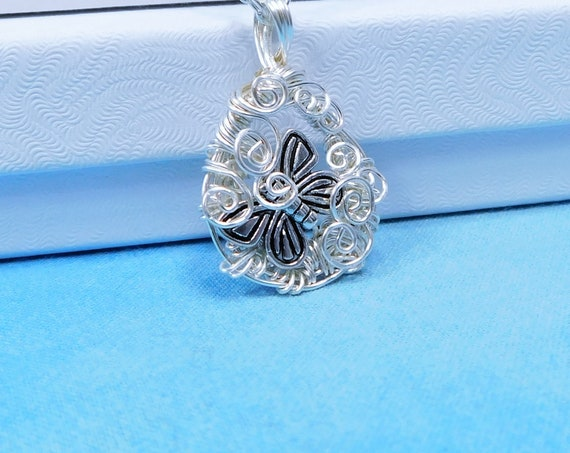 Small Artistic Butterfly Necklace, Artisan Crafted Memorial Jewelry, One of a Kind Remembrance Pendant Bereavement Present or Sympathy Gift