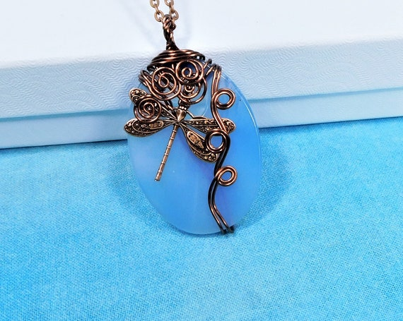 Copper Dragonfly Necklace, Wire Wrapped Blue Agate Pendant, Gemstone Wearable Art Memorial Jewelry Bereavement Present Sympathy Gift