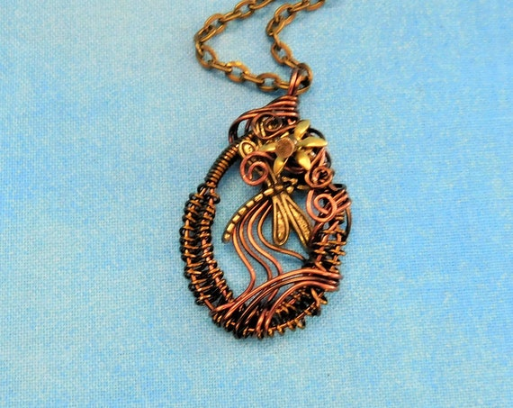 Unique Wire Wrapped Dragonfly Necklace, Memorial Jewelry, One of a Kind Copper Pendant, Artistic Handmade Wearable Art Bereavement Gift