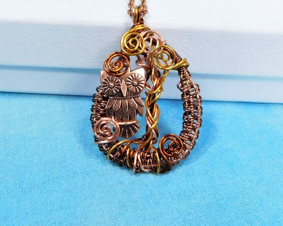 Unique Wire Wrapped Owl Necklace, Handcrafted Wearable Art Jewelry, Artisan Crafted Copper Owl Pendant, Artistic Bird Theme Gift for Ladies