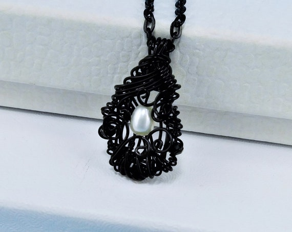 Unique Wire Wrapped Single Pearl Necklace, Genuine Freshwater Pearl Pendant, Black Woven Wire Wrapped Jewelry June Birthstone Birthday Gift