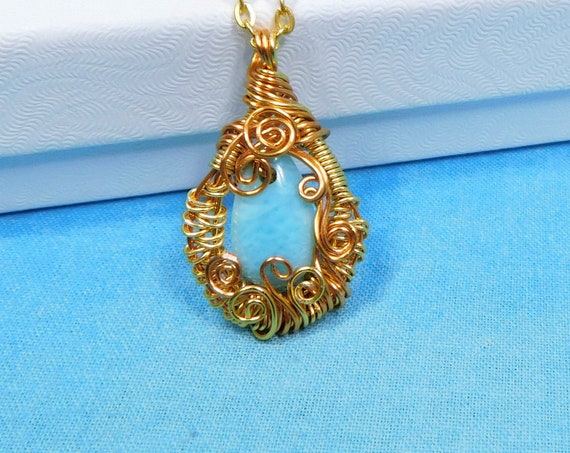 Woven Wire Wrapped Larimar Pendant Gemstone Necklace, Artisan Crafted Unique Wearable Art Jewelry Birthday or Anniversary Gift for Women