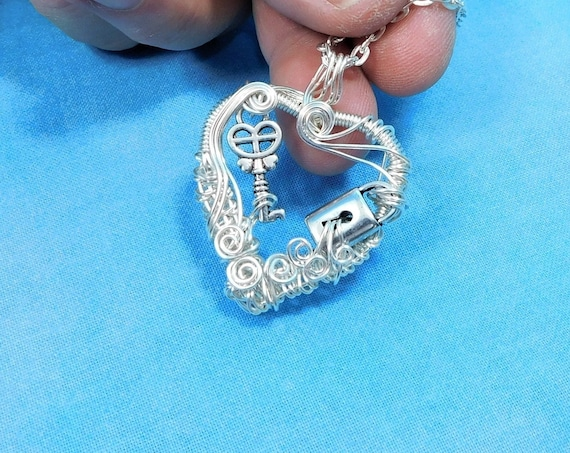 Unique Wire Wrapped Skeleton Key Necklace, Artisan Crafted Silver Lock and Key Heart Pendant, Handmade Wearable Art Jewelry Present for Wife