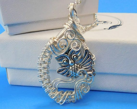 Owl Necklace Unique Woven Wire Wrapped Artistic Handmade Pendant Artisan Crafted Wearable Art Birthday Christmas Present Ideas for Women