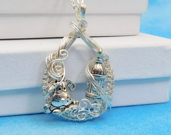 Dog Lover Necklace, Pet Memorial Jewelry, Artisan Crafted Unique Wire Wrapped Puppy Pendant, Birthday Present Gifts for Mom from Daughter