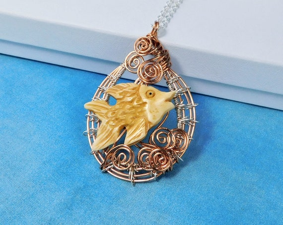 Artistic Swimming Fish Statement Pendant, Wire Wrapped Whimsical Marine Necklace, Ocean Theme Beach Jewelry Wearable Art Gift for Women