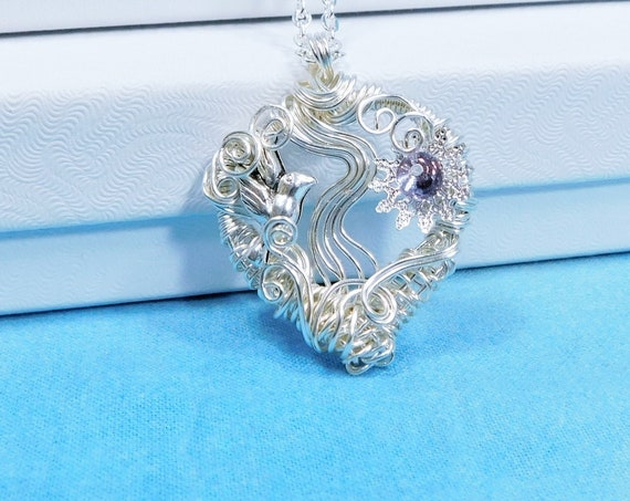 Flying Bird Heart Necklace Animal Theme Jewelry, Artistic Handmade Wire Wrapped Memorial Pendant Bereavement Present or Sympathy Gift