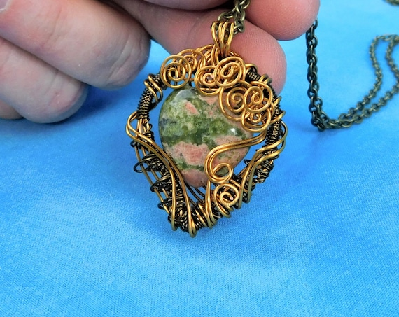 Wire Wrapped Heart Shaped Unakite Pendant, Unique Green Gemstone Necklace Present for Wife, Artisan Crafted  Wearable Art Jewelry Gift