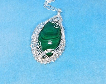 Stone Pendant Birthday Present Ideas for Women Artistic Gemstone Jewelry Mother in Law Gift Unique Wire Wrapped Malachite Necklace