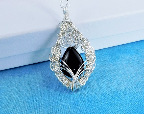 Black Onyx Necklace, Artisan Crafted, Unique Artistic Woven Wire Wrapped Gemstone Pendant, Handmade Gemstone Wearable Art Jewelry