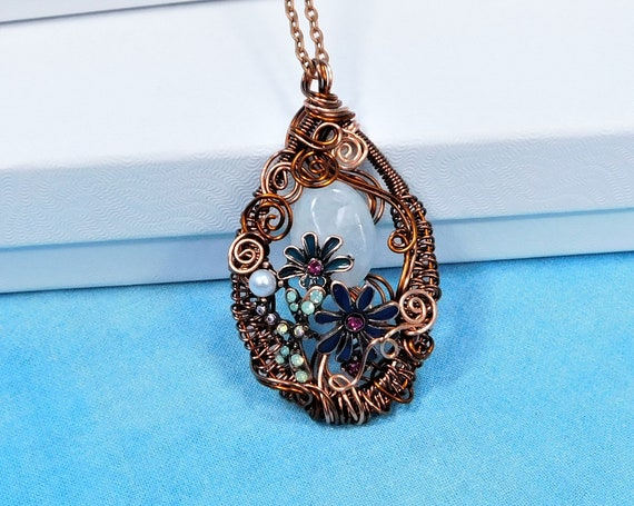 Wire Wrapped Aquamarine Pendant March Birthstone Necklace, Artisan Crafted Gemstone Jewelry Birthday Gift, Precious Gem Wearable Art Jewelry