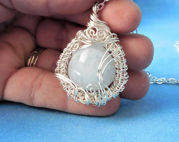 Unique Wire Wrapped Aquamarine Pendant March Birthstone Necklace, Artisan Crafted Gemstone Jewelry Artistic Handcrafted Wearable Art