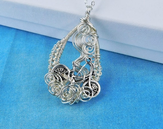 Cycling Gifts Unique Bicycle Jewelry for Wife Unique Handmade Bike Pendant Present Ideas for Wife Girlfriend Mom Daughter Mother in Law Gift