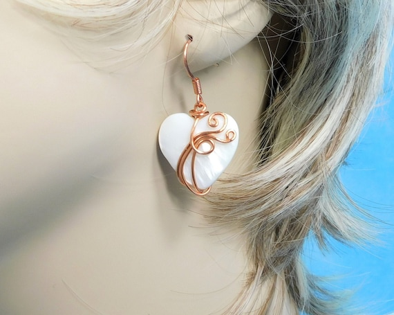 Copper Wrapped Heart Earrings, Artistic Anniversary or Birthday Present, Romantic Jewelry for Girlfriend or Wife, Mother's Day Gift for Mom