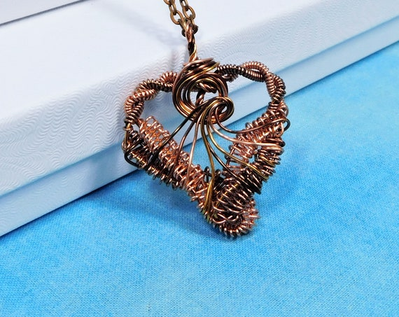 Rustic Heart Necklace, Woven Copper Wire Pendant, Artisan Crafted Jewelry, Handcrafted Wearable Art for Women, 7th Anniversary Gift for Wife