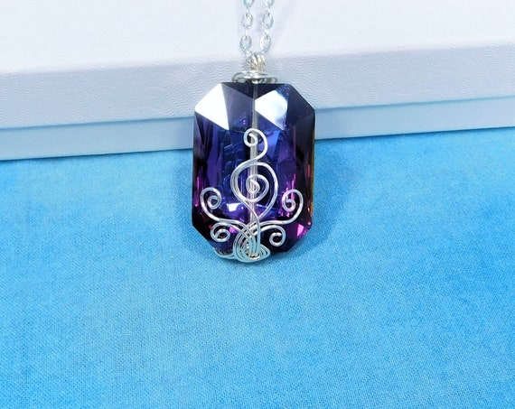 Wire Wrapped Purple Glass Pendant, One of a Kind Handmade Statement Necklace, Wearable Art Jewelry Present for Wife, Mom or Mother in Law