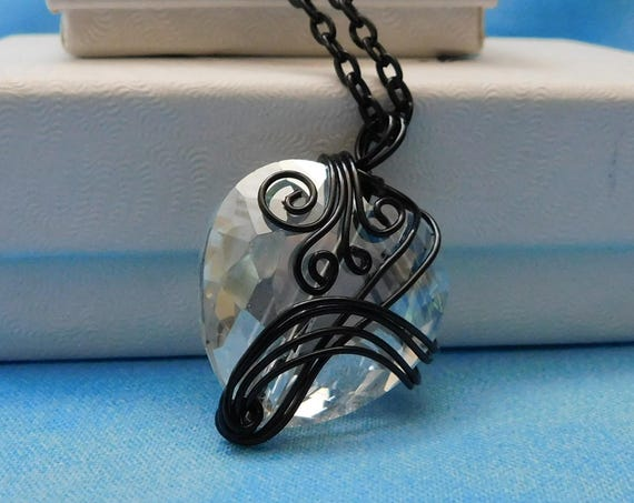 Black Wire Wrapped Crystal Heart Necklace, Unique Artisan Crafted Jewelry, Artistic Handmade Wearable Art  Pendant Present Ideas for Women