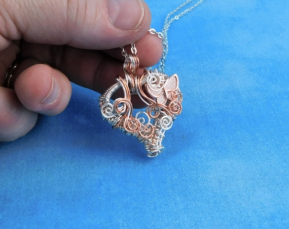 Rose Gold Heart Necklace Artisan Crafted Unique Wire Wrapped Butterfly Pendant Artistic Handmade Romantic Valentine's Day Present Ideas