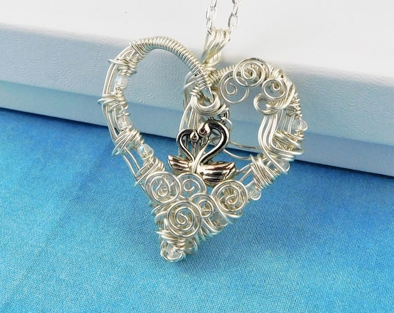 Artisan Crafted Swan Necklace, Artistic Wire Wrapped Heart Pendant, Romantic Jewelry Anniversary Present, Mother's Day Gift Idea for Women
