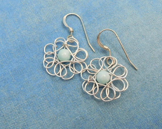 Peruvian Blue Opal Flower Dangle Earrings Unique Artisan Crafted Artistic Handmade Wearable Art Wire Wrapped Jewelry Present Ideas for Women