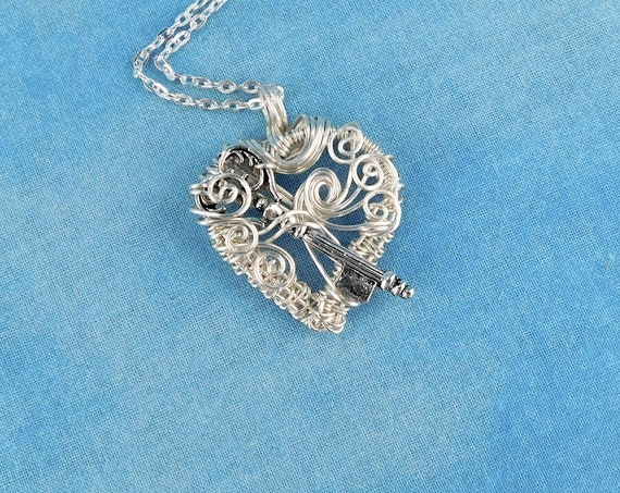Unique Wire Wrapped Skeleton Key Necklace, Artistic Woven Wire Heart Pendant, Handmade Wearable Art Jewelry Birthday or Anniversary Present