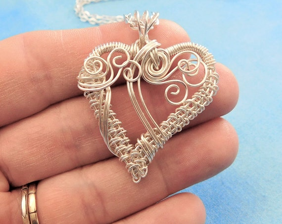 Wire Wrapped Heart Pendant, Unique Artisan Crafted Necklace, One of a Kind Wearable Art Woven Wire Jewelry
