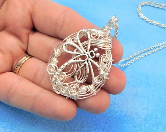 Artisan Crafted Dragonfly Necklace, Woven Wire Wrapped Wearable Art, Artistic Handmade One of a Kind Memorial Jewelry Bereavement Gift