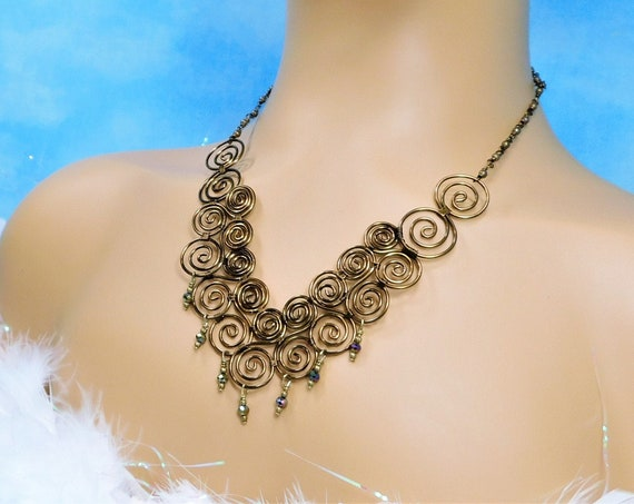 Copper Wire Wrapped Scroll Work Bib Statement Necklace, Wearable Art Jewelry 7th Anniversary Gift for Wife or Girlfriend