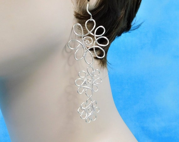 Wire Sculpted Flower Dangle Earrings for Pierced Ears, Artisan Crafted Wearable Art Jewelry Present for Ladies, Wife, Mom, or Girlfriend