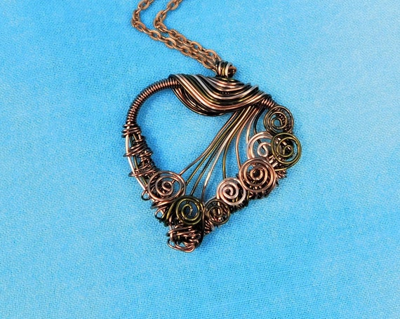 Unique Woven Wire Wrapped Copper Heart Necklace, Artistic 7th Anniversary Gift Jewelry, Handmade Wearable Art Present for Wife or Girlfriend