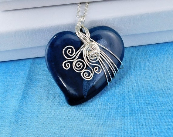 Wire Wrapped Blue Ceramic Heart Necklace, Handcrafted Pendant Present Idea for Wife, Unique Artisan Jewelry Gift for Mom, Mother in Law
