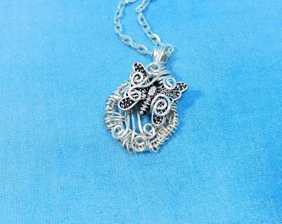 Small Artistic Silver Butterfly Necklace, Artisan Crafted Wire Wrapped Jewelry, One of a Kind Memorial Pendant Bereavement Gift for Women