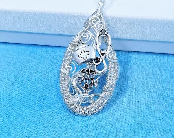 Unique RN Statement Necklace, Nursing Graduation Gift Idea, Wearable Art Jewelry Birthday Anniversary Present for Women Student Nurses