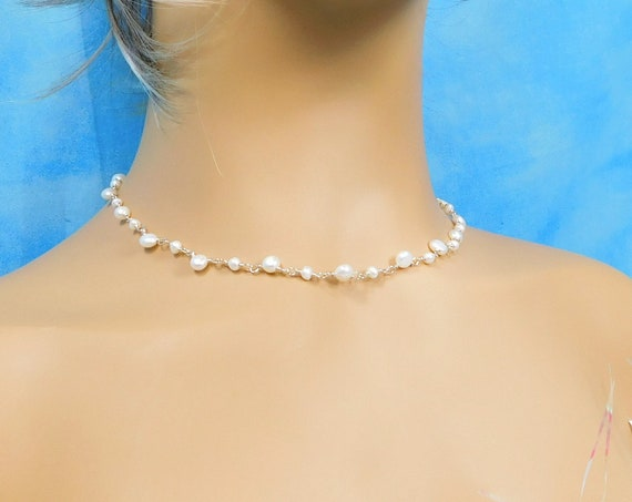 16 Inch Choker Length Freshwater Pearl Necklace, June Birthstone Gemstone Jewelry Wearable Art June Birthday Present or Anniversary Gift