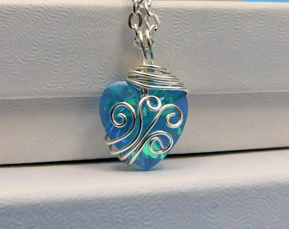 Unique Wire Wrapped Blue Crystal Heart Necklace, Artisan Crafted Handmade Jewelry, Wearable Art Pendant Romantic Present Ideas for Wife
