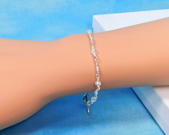 Artisan Crafted Dainty Crystal Bracelet, Unique Wire Wrapped Jewelry, Wearable Art Birthday Present for Mom or Best Friend Bracelet